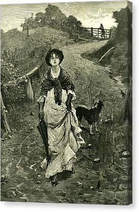A Tiff 1878 Outdoors Nature Walk Woman Dog Fence Man Canvas Print by English School