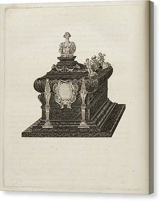 A Tomb Or Casket With A Bust Or Statue Canvas Print by British Library