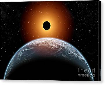 A Total Eclipse Of The Sun As Seen Canvas Print by Mark Stevenson