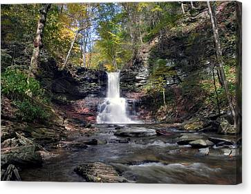 A Touch Of Autumn At Sheldon Reynolds Falls Canvas Print by Gene Walls