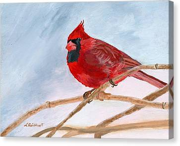 Canvas Print featuring the painting A Touch Of Red by Lynne Reichhart