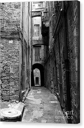 A Town In Tuscany 3 Bw Canvas Print by Mel Steinhauer