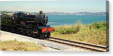 A Train Ride By The Sea Canvas Print by Peter Hunt
