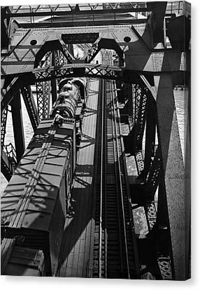 A Train Stopped On A Trestle Canvas Print by Underwood Archives
