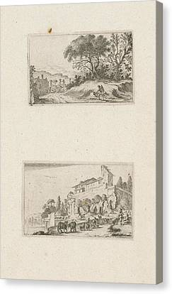 Villa Canvas Print - A Traveler And Ruins Of A Villa On A Hill by Gillis Van Scheyndel I