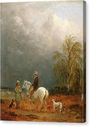 A Traveller And A Shepherd In A Landscape Signed Lower Canvas Print by Litz Collection