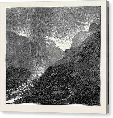 A Trip To The Pyrenees Storm-evening Near Eaux-bonnes Canvas Print by English School