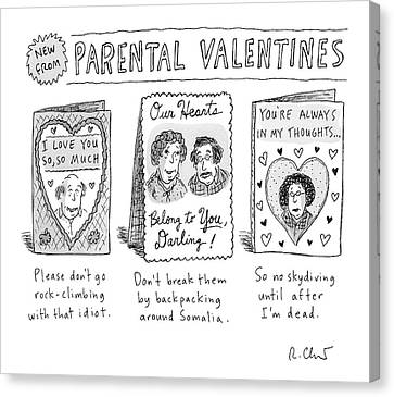 A Triptych Of Parental Valentines Day Cards That Canvas Print