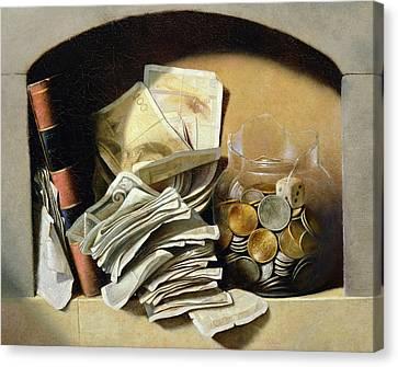 A Trompe Loeil Of Paper Money Coins Canvas Print