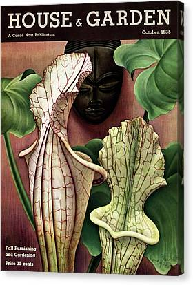 Exoticism Canvas Print - A Tropical Flower And An African Mask by Edna Reindel