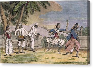 Troupe Canvas Print - A Troupe Of Bayaderes, Or Indian by Pierre Sonnerat