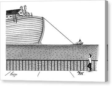 A Tugboat Tows Noah's Ark Across The Ocean. A Man Canvas Print