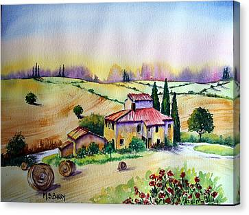 Canvas Print featuring the painting A Tuscann Farmhouse by Maria Barry