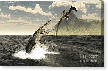 A Tylosaurus Jumps Out Of The Water Canvas Print by Arthur Dorety