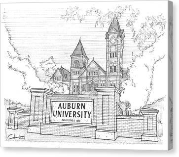 Canvas Print featuring the drawing A U by Calvin Durham