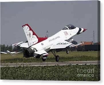 A U.s. Air Force F-16 Thunderbird Jet Canvas Print by Timm Ziegenthaler