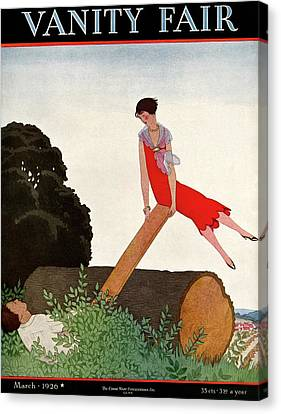 A Vanity Fair Cover Of A Couple On A Seesaw Canvas Print by Andre E.  Marty