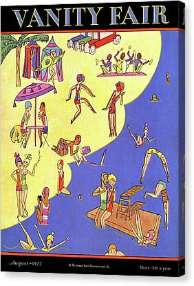 Diving Board Canvas Print - A Vanity Fair Cover Of Beach Goers by A H Fish