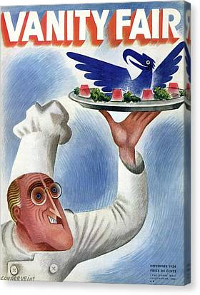 A Vanity Fair Cover Of Roosevelt At Thanksgiving Canvas Print by Miguel Covarrubias
