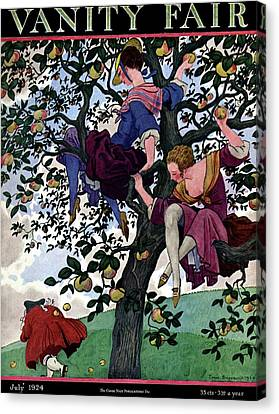 A Vanity Fair Cover Of Women Throwing Apples Canvas Print by Pierre Brissaud