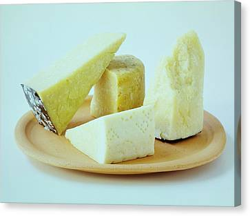 A Variety Of Cheese On A Plate Canvas Print