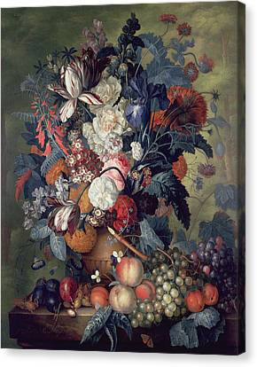 A Vase Of Flowers With Fruit Canvas Print by Jacob van Huysum