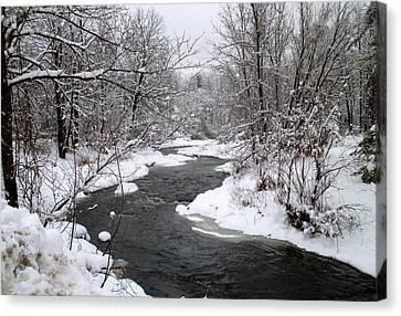 A Vermont Stream In Winter Canvas Print