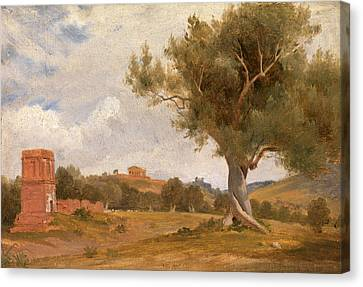 A View At Girgenti In Sicily With The Temple Of Concord Canvas Print by Litz Collection