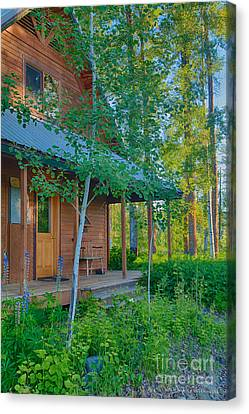 A View Of A Cottage With Aspen Trees Canvas Print