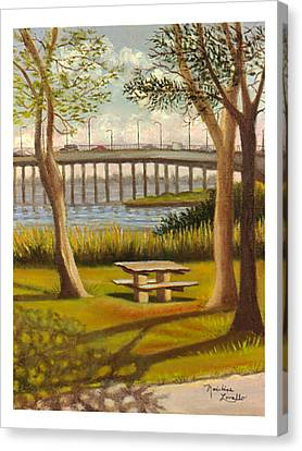 A View Of Crossbay Bridge Canvas Print