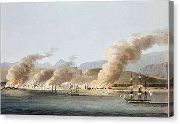 A View Of Linga Or Lung, From The Sea Canvas Print by R. Temple