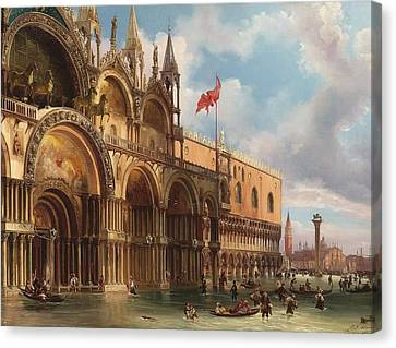 A View Of Saint Mark's Square With The Acqua Alta Canvas Print by Celestial Images