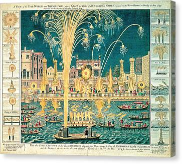 A View Of The Fireworks And Illuminations At His Grace The Duke Of Richmonds At Whitehall Canvas Print by English School