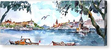 Canvas Print featuring the painting A View Of The Historical Peninsula From Uskudar - Istanbul by Faruk Koksal