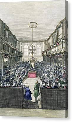 A View Of The House Of Commons Canvas Print by English School
