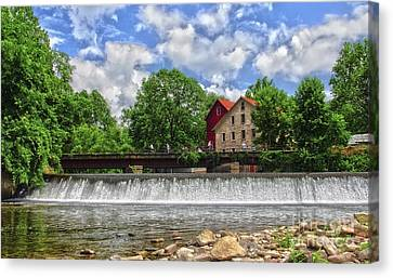 Canvas Print featuring the photograph A View Of The Mill From The River by Debra Fedchin