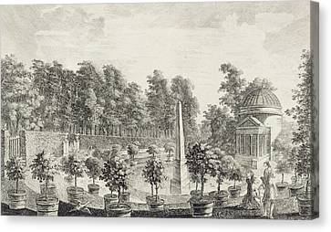 Summer Flowers Canvas Print - A View Of The Orangery by Pieter Andreas Rysbrack