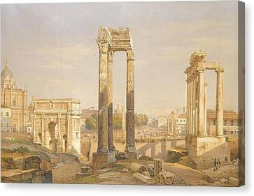A View Of The Roman Forum With Oxen And Carts Canvas Print