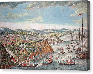 A View Of The Taking Of Quebec, September 13th 1759 Colour Engraving Canvas Print by English School