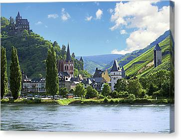 A View Of The Village Of Bacharach Canvas Print by Miva Stock