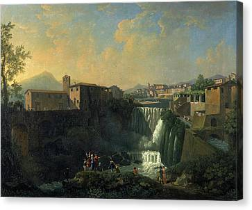 A View Of Tivoli Rome Italy Signed In Yellow Paint Canvas Print by Litz Collection