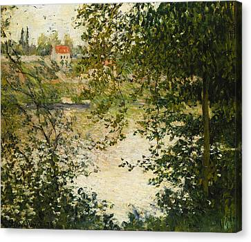 A View Through The Trees Of La Grande Jatte Island Canvas Print by Claude Monet