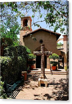 Crucifix Art Canvas Print - A Village Chapel by Mel Steinhauer