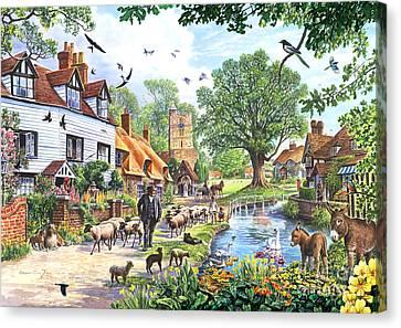 A Village In Spring Canvas Print