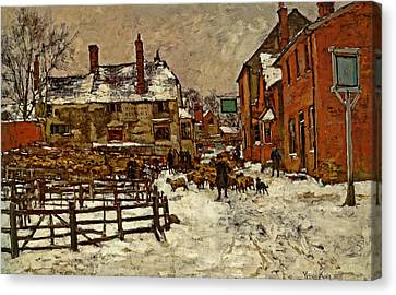 A Village In The Snow Canvas Print by Henry King