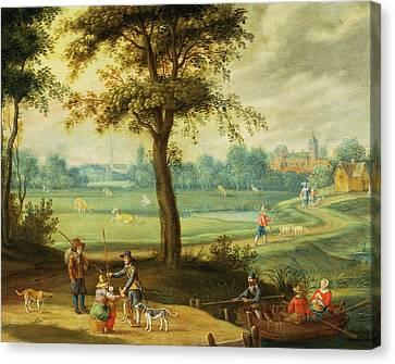 A Village Landscape By A River Oil Canvas Print