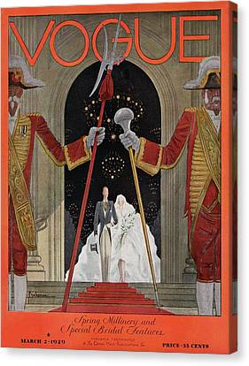 Wedding Dress Canvas Print - A Vintage Vogue Magazine Cover Of A Father by Georges Lepape