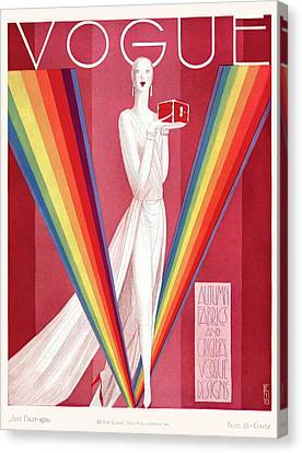 A Vintage Vogue Magazine Cover Of A Mannequin Canvas Print by Eduardo Garcia Benito