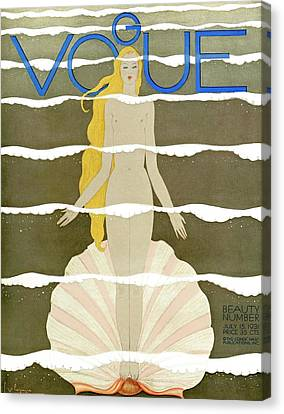 Blond Canvas Print - A Vintage Vogue Magazine Cover Of A Naked Woman by Georges Lepape
