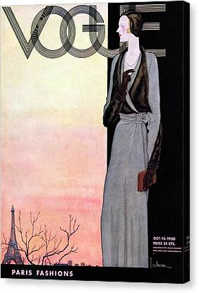 Pearl Necklace Canvas Print - A Vintage Vogue Magazine Cover Of A Wealthy Woman by Georges Lepape